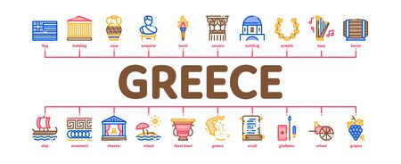 Greece Country History Minimal Infographic Web Banner Vector. Greece Flag And Antique Amphora, Building And Boat, Wine Barrel And Grape Illustrations