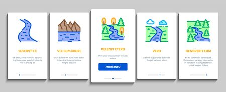 River Landscape Onboarding Mobile App Page Screen Vector. River With Mountain And Forest, Bridge And City Buildings, Water Mill And Field Color Contour Illustrations