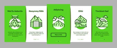 Mountain Landscape Onboarding Mobile App Page Screen Vector. Forest And Camping On Mountain, Volcano And Cave, City Buildings And Bridge Color Contour Illustrations