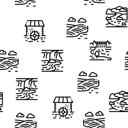 River Landscape Seamless Pattern Vector Thin Line. Illustrations 일러스트