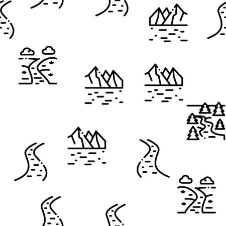 River Landscape Seamless Pattern Vector Thin Line. Illustrations