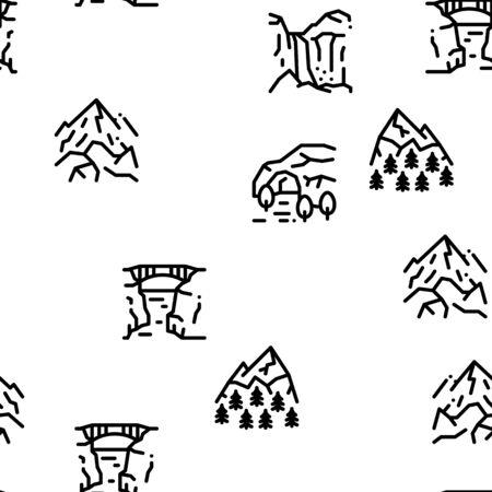 Mountain Landscape Seamless Pattern Vector Thin Line. Illustrations Ilustração