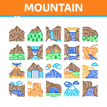 Mountain Landscape Collection Icons Set Vector. Forest And Camping On Mountain, Volcano And Cave, City Buildings And Bridge Concept Linear Pictograms. Color Illustrations