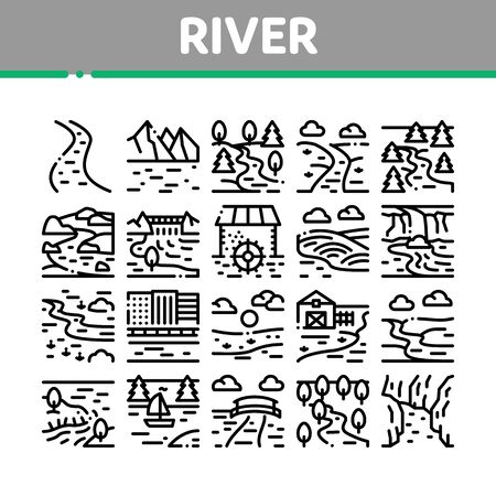 River Landscape Collection Icons Set Vector. River With Mountain And Forest, Bridge And City Buildings, Water Mill And Field Concept Linear Pictograms. Monochrome Contour Illustrations