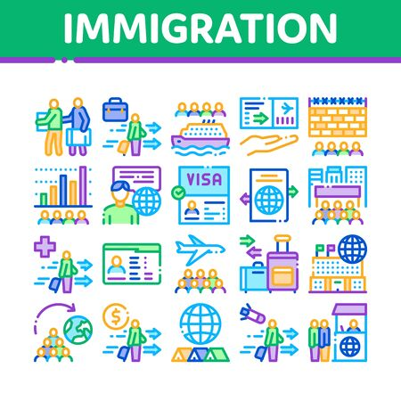 Immigration Refugee Collection Icons Set Vector. Immigration Person With Baggage, Passport And Visa, Cruise Liner Voyage And Airplane Concept Linear Pictograms. Color Illustrations