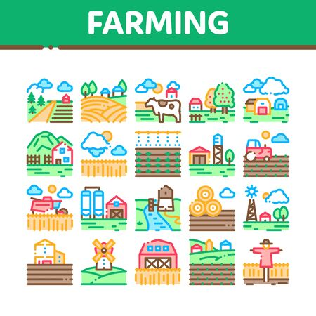 Farming Landscape Collection Icons Set Vector. Farming Field And Barn Construction, Mill And Scarecrow, Tractor And Cow Farm Animal Concept Linear Pictograms. Color Illustrations