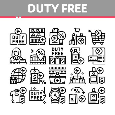 Duty Free Shop Store Collection Icons Set Vector. Duty Free Nameplate And Product, Bag And Label, Perfume And T-shirt, Credit Card And Cart Concept Linear Pictograms. Monochrome Contour Illustrations