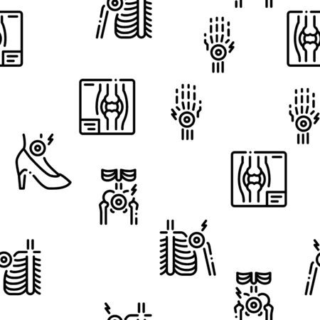 Arthritis Disease Seamless Pattern Vector Thin Line. Illustrations