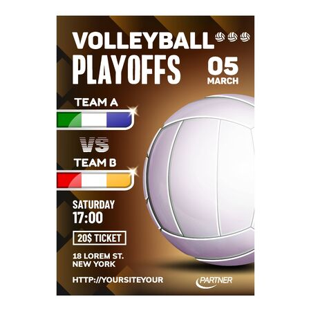 Volleyball Sport Event Promotional Poster Vector. Volleyball Game Ball On Bright Advertising Announcement Banner. Seacoast Area Beach Playing Team Sporty Match Colored Concept Layout Illustration