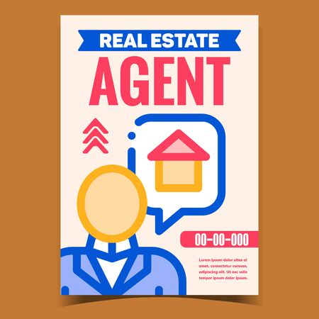 Real Estate Agent Creative Promo Poster Vector. Human Professional Agent Businessman Talking About House, Building Sale Advertising Banner. Concept Template Stylish Colorful Illustration