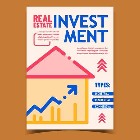 Real Estate Investment Advertising Poster Vector. Industrial, Residential Or Commercial Investment. Money Savings For Buy Home, Financial Wealth Management. Concept Mockup Style Colorful Illustration