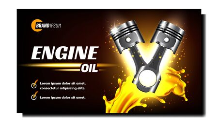 Car Engine Repair Service Promo Banner Vector. Engine Metal Material Piston Automobile Detail On Creative Advertising Poster. Machine Motor Cylinder Steel Part. Mockup Realistic 3d Illustration