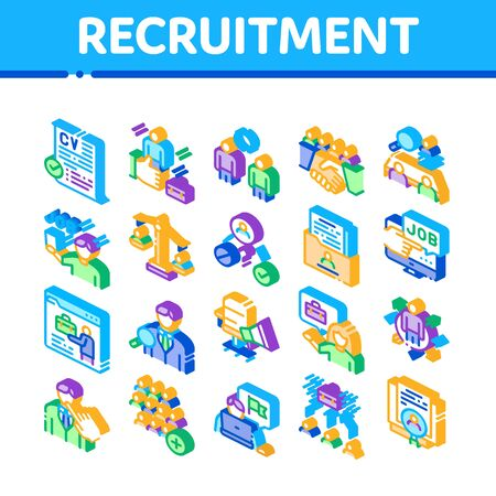 Recruitment And Research Employee Icons Set Vector. Curriculum Vitae Cv And Professional Career, Interview And Recruitment Isometric Illustrations Ilustrace