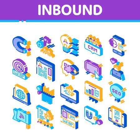 Inbound Marketing Collection Icons Set Vector. Growth Roi And Seo, Attract And Crm, Email, And Social Media And Internet Marketing Isometric Illustrations