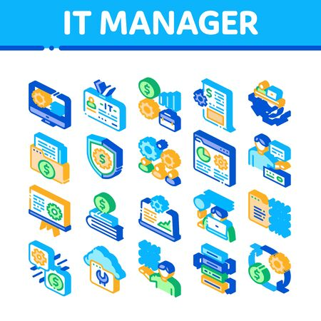 It Manager Developer Collection Icons Set Vector. It Manager Badge And Binary Code, Web Site Development And Programming Isometric Illustrations