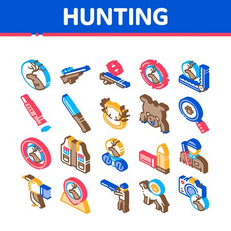 Hunting Equipment Collection Icons Set Vector. Hunting Gun And Knife, Bullet And Trap, Dog And Deer, Photo Camera And Magnifier Isometric Illustrations