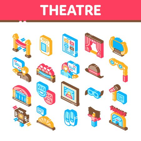 Theatre Equipment Collection Icons Set Vector. Theatre Ticket And Binoculars, Mask And Microphone, Curtain And Seats, Building And Hat Isometric Illustrations