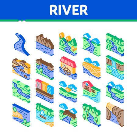 River Landscape Collection Icons Set Vector. River With Mountain And Forest, Bridge And City Buildings, Water Mill And Field Isometric Illustrations
