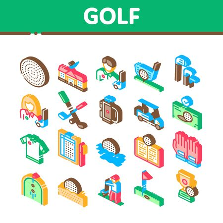 Golf Game Equipment Collection Icons Set Vector. Golf Club Building And Putter With Ball, Caddy Car And Field, Player And Champion Cup Isometric Illustrations