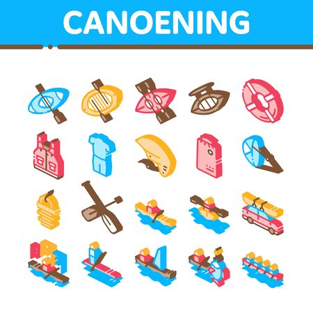 Canoeing Collection Elements Icons Set Vector. Canoe Transportation On Car And Canoening Protection Safety Life Equipment Isometric Illustrations