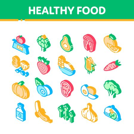 Healthy Food Vector Icons Set. Vegetable, Fruit And Meat Healthy Food Pictograms. Strawberry And Orange, Blueberry And Pumpkin, Eggs And Fish Isometric Illustrations