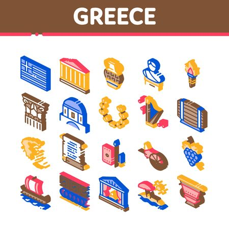 Greece Country History Collection Icons Set Vector. Greece Flag And Antique Amphora, Building And Boat, Wine Barrel And Grape Isometric Illustrations