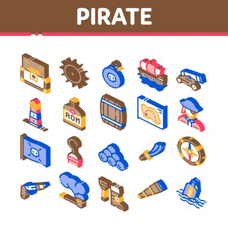 Pirate Sea Bandit Tool Collection Icons Set Vector. Pirate Saber And Spyglass, Steering Rudder, Crossed Bones And Skull Flag Isometric Illustrations Ilustrace