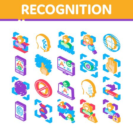 Recognition Collection Elements Icons Set Vector. Eye Scanning, Biometric Recognition, Face Id Systems, Human Silhouette Isometric Illustrations Иллюстрация