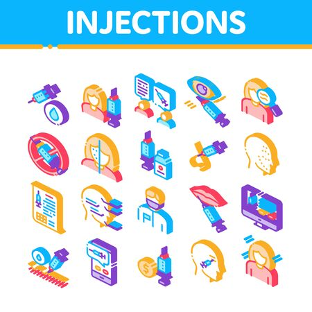 Injections Collection Elements Icons Set Vector. Anti-ageing Treatments Procedure, Fillers Medical Cosmetic Injections Isometric Illustrations Ilustrace
