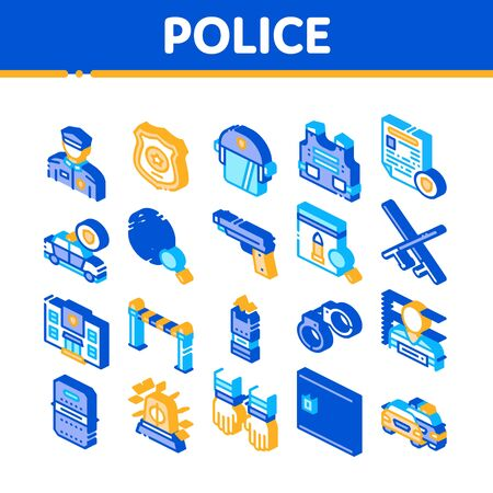 Police Department Collection Icons Set Vector. Policeman Silhouette, Police Badge And Body Armor, Helmet And Gun And Truncheon Isometric Illustrations