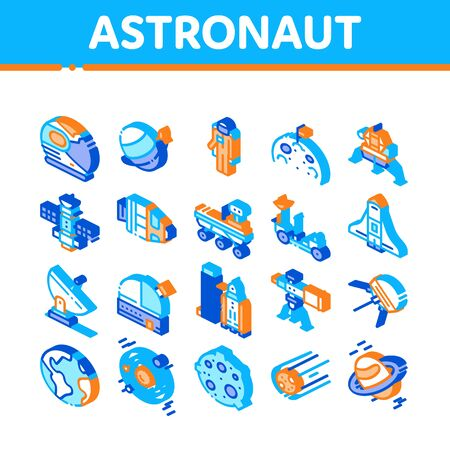 Astronaut Equipment Collection Icons Set Vector. Astronaut Spacesuit And Helmet, Shuttle And Satellite, Rocket And Asteroid Isometric Illustrations Фото со стока - 147295414