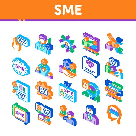 Sme Business Company Collection Icons Set Vector. Sme Small And Medium Enterprise, Communication And Education, Badge And Case Isometric Illustrations