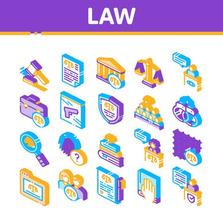 Law And Judgement Collection Icons Set Vector. Courthouse And Judge, Gun And Magnifier, Fingerprint And Suitcase, Law Document Isometric Illustrations