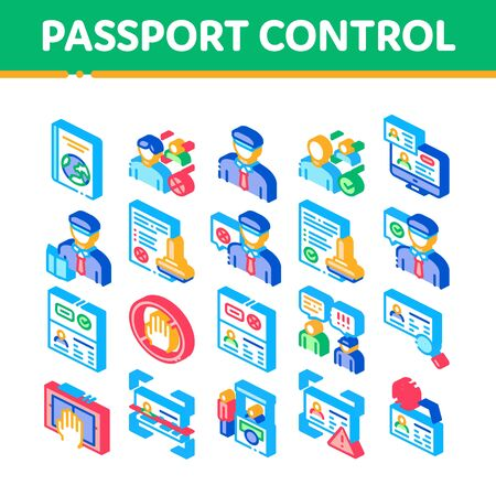 Passport Control Check Collection Icons Set Vector. Scanning Passport And Stamp, Policeman And Book, Fingerprint And Document Isometric Illustrations