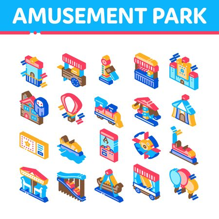 Amusement Park And Attraction Icons Set Vector. Castle And Train, Electrical Car And Boat, Ticket And Air Balloon Attraction Collection Isometric Illustrations