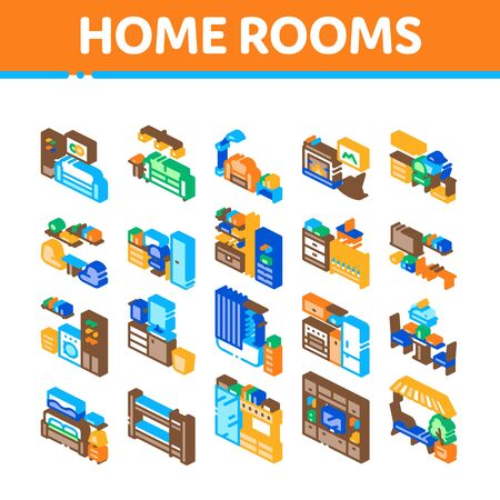 Home Rooms Furniture Collection Icons Set Vector. Sofa And Table, Lamp And Chair, Fireplace And Rocking-chair Home Rooms Interior Isometric Illustrations