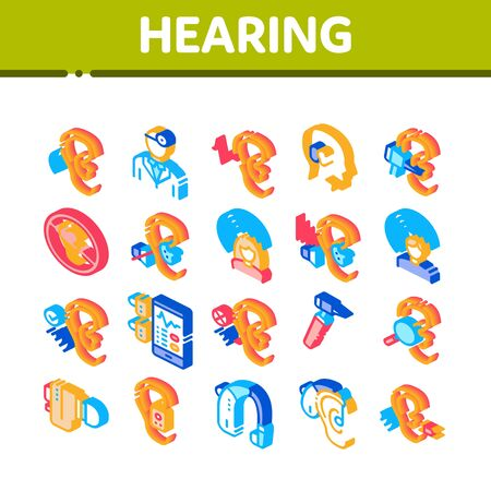 Hearing Human Sense Collection Icons Set Vector. Hearing Aid Device And Earphone. Doctor And Medical Equipment For Research Isometric Illustrations