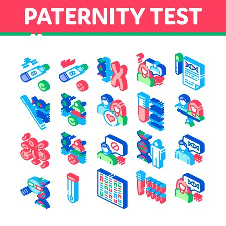 Paternity Test Dna Collection Icons Set Vector. Man And Woman Silhouette, Chemistry Laboratory Test And Chromosome Isometric Illustrations