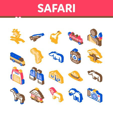 Safari Travel Collection Elements Icons Set Vector. Animal And Africa, Car And Tree, Human Silhouette And Hat Safari Adventure Isometric Illustrations