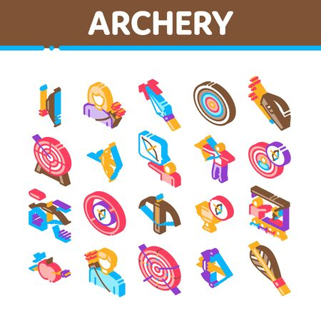 Archery Activity Sport Collection Icons Set Vector. Archery Target And Equipment, Crossbow And Bow, Arrow And Archer, Championship Cup Isometric Illustrations