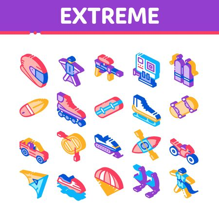 Extreme Sport Activity Collection Icons Set Vector. Bike And Crash Helmet, Parachute And Hang-glider Equipment For Extreme Active Isometric Illustrations Illustration