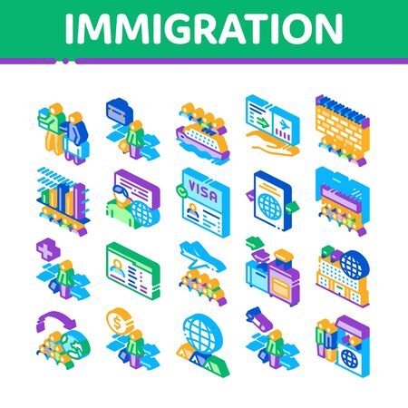 Immigration Refugee Collection Icons Set Vector. Immigration Person With Baggage, Passport And Visa, Cruise Liner Voyage And Airplane Isometric Illustrations