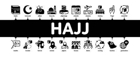 Hajj Islamic Religion Minimal Infographic Web Banner Vector. Hajj Kaaba Building And Mosque, Airplane Ticket And Touristic Direction Illustrations