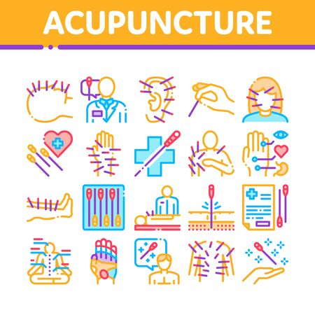 Acupuncture Therapy Collection Icons Set Vector. Human Head And Hand, Ear, Face And Body Acupuncture, Doctor And Patient, Needles Tool Color Illustrations