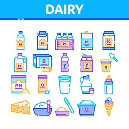 Dairy Drink And Food Collection Icons Set Vector. Dairy Cheese And Ice Cream, Fresh Milk And Butter, Yogurt And Breakfast Porridge Color Illustrations