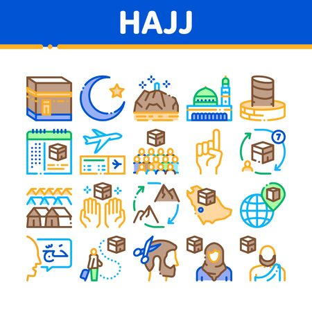 Hajj Islamic Religion Collection Icons Set Vector. Hajj Kaaba Building And Mosque, Airplane Ticket And Touristic Direction Color Illustrations Ilustracja