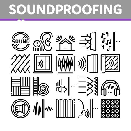 Soundproofing Building Material Icons Set Vector. Collection Of Soundproofing Windows And Roof, Wall Insulation And Floor Covering Concept Linear Pictograms. Monochrome Contour Illustrations