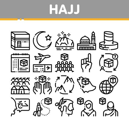 Hajj Islamic Religion Collection Icons Set Vector. Hajj Kaaba Building And Mosque, Airplane Ticket And Touristic Direction Concept Linear Pictograms. Monochrome Contour Illustrations