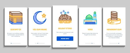 Hajj Islamic Religion Onboarding Mobile App Page Screen Vector. Hajj Kaaba Building And Mosque, Airplane Ticket And Touristic Direction Color Illustrations Ilustracja