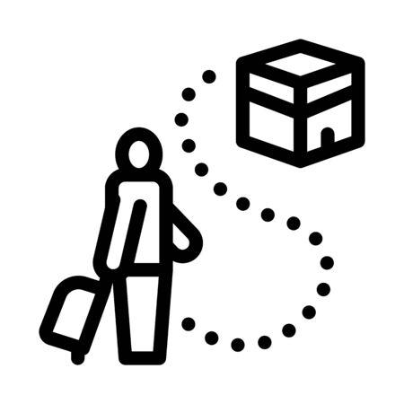 traveler way to kaaba temple icon vector. traveler way to kaaba temple sign. isolated contour symbol illustration